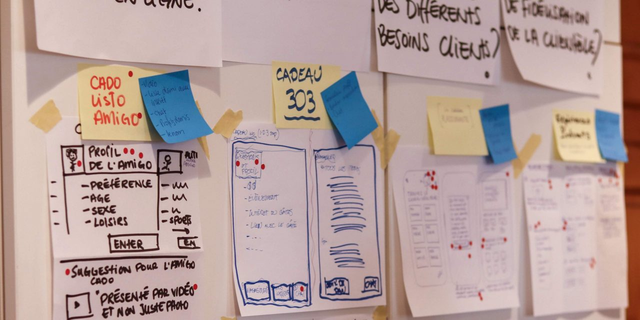Photograph of several sketches put on papers during a design sprint