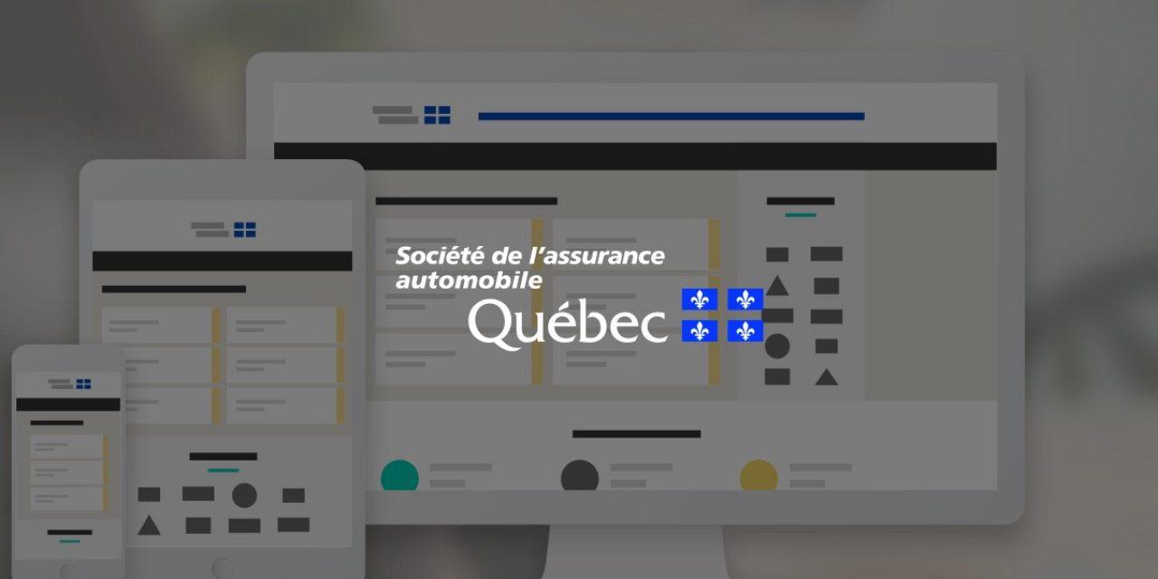 Logo de l'Assurance Automobile du Québec devant des écrans