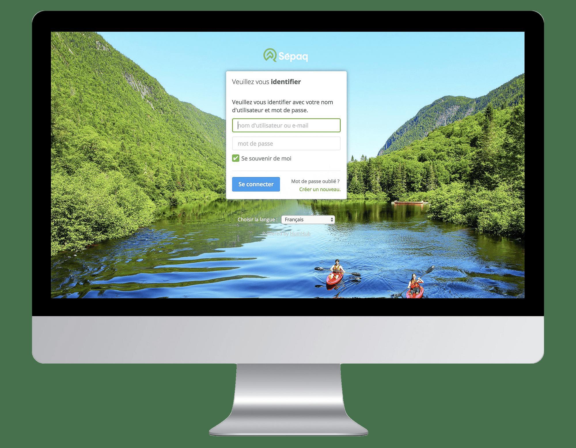 Illustration de l'interface d'accueil de l'intranet de la Sépaq