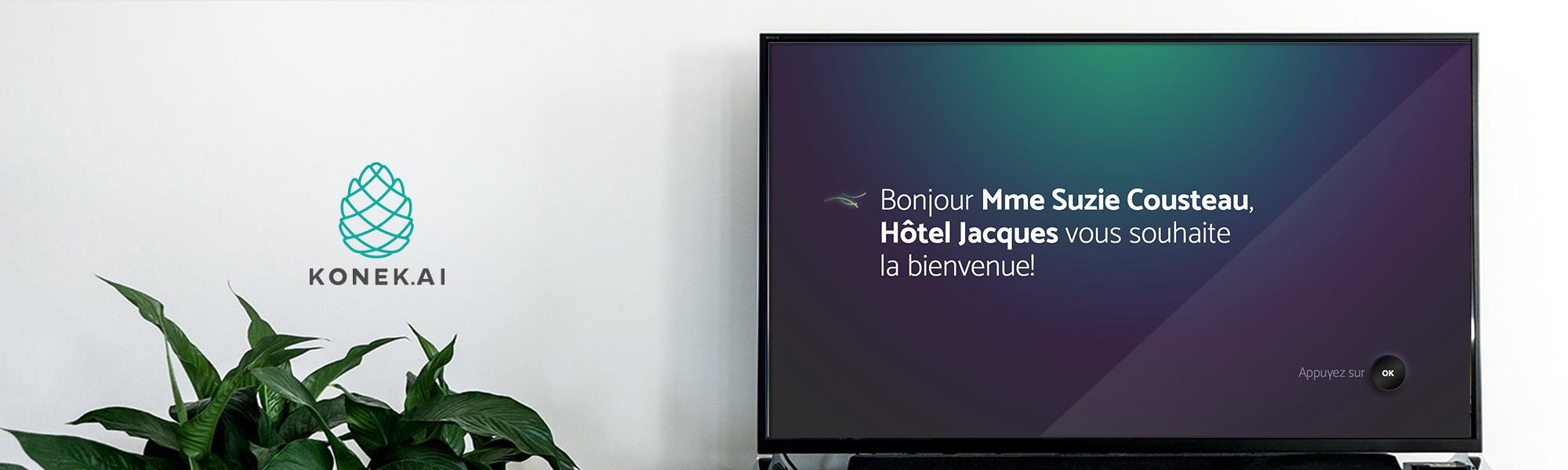 Logo de konek à côté d'une télévision intelligente konek