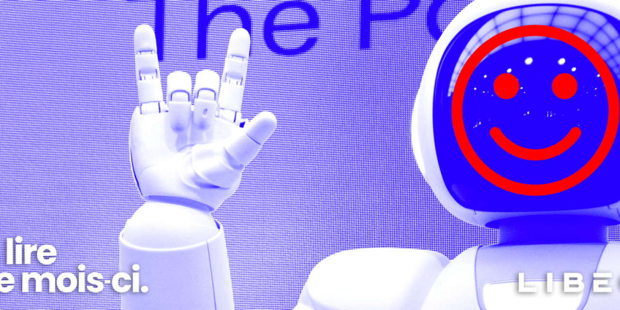 Libéo logo in front of a smiling robot