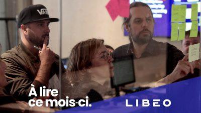 Logo de Libéo en-dessous d'une photographie de personnes participant à un atelier de Design Thinking