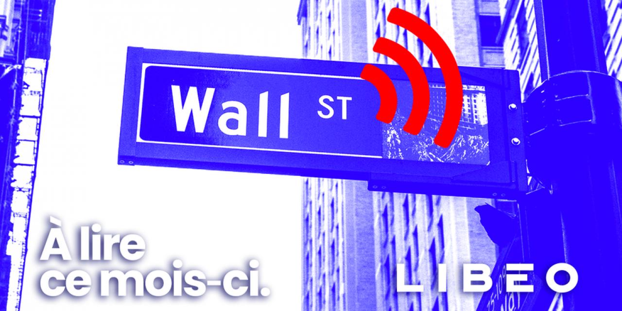 Logo de Libéo devant un panneau indiquant la rue Wall Street