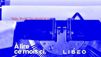 Logo de Libéo avec une machine à écrire en bleu