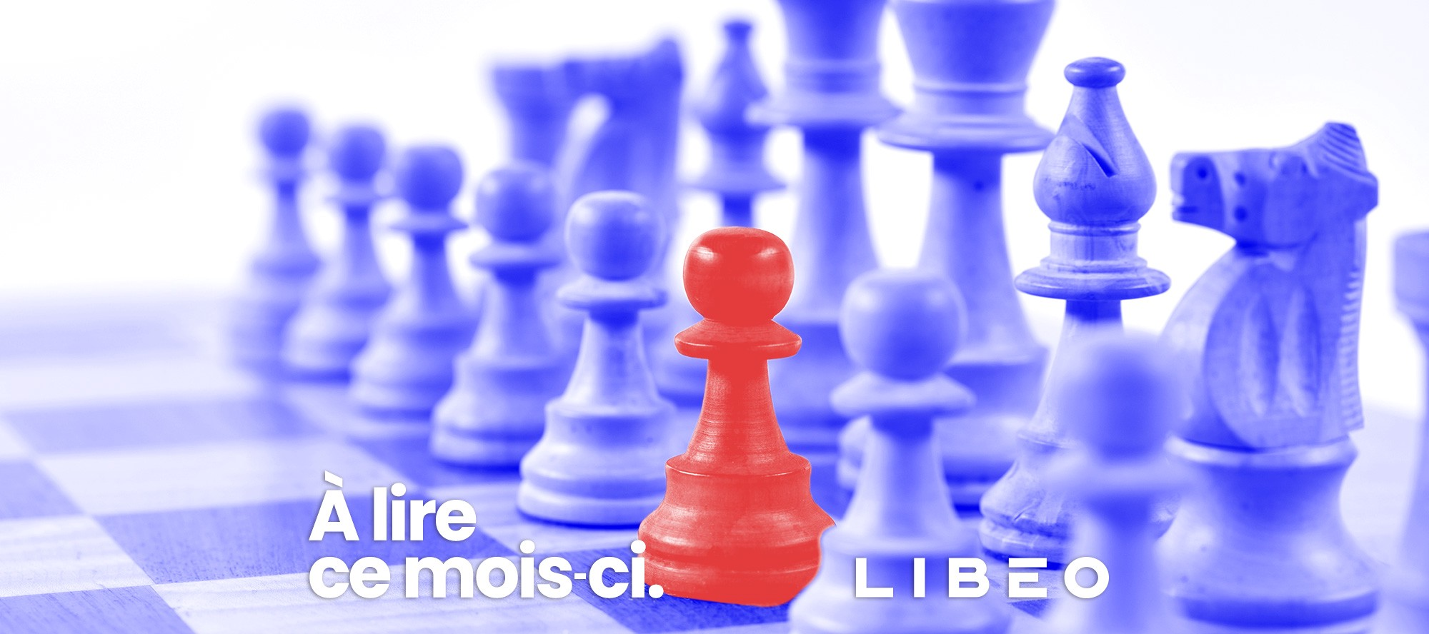 Logo de Libéo avec des pièces d'échec bleues et rouges