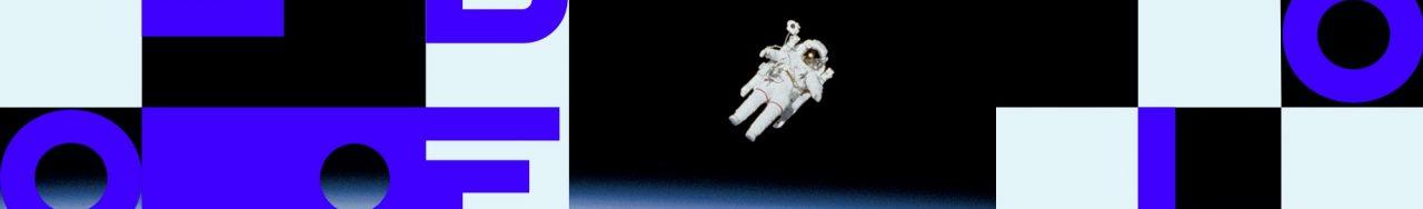 Logo de Libéo devant un astronaute