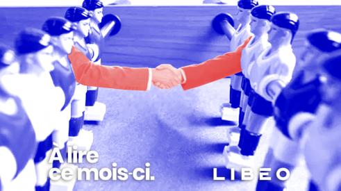 Logo de Libéo devant des joueurs des baby-foot