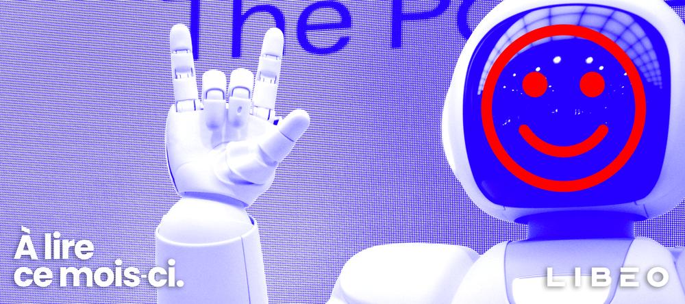 Logo de Libéo devant un robot souriant
