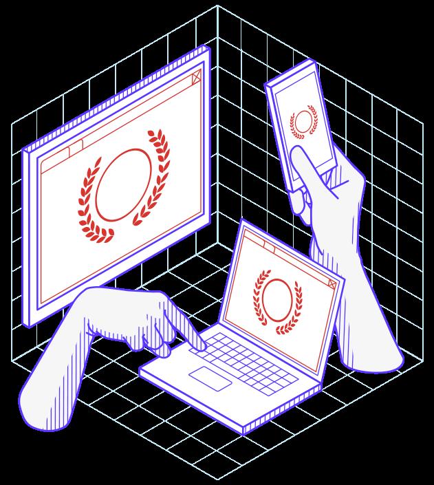 Illustration avec une main tapant sur un clavier d'ordinateur portable