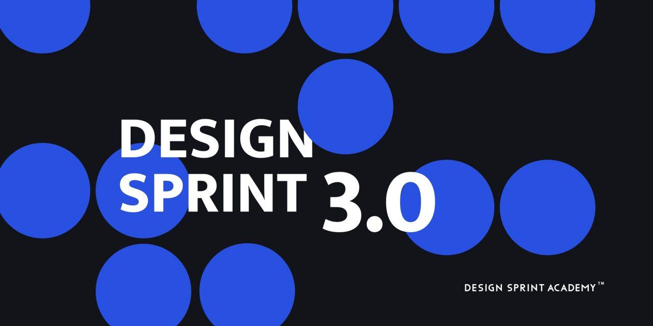 Titre de l'article entouré de plusieurs bulles bleues et du logo de la Design Sprint Academy