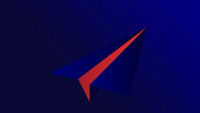 Illustration avec un avion en papier bleu et rouge