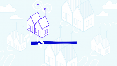 Illustration d'une maison en 3D sur fond bleu ciel