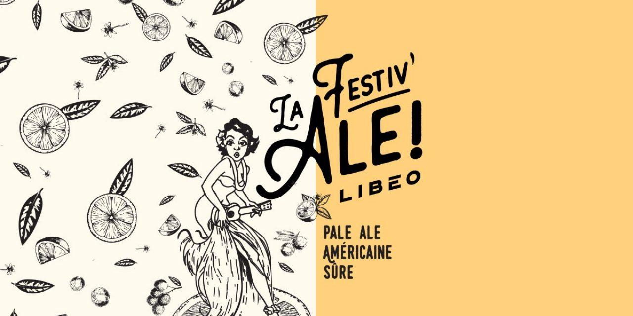Illustration colorée avec le logo de la bière réalisée en collaboration avec la Microbrasserie À la Fût