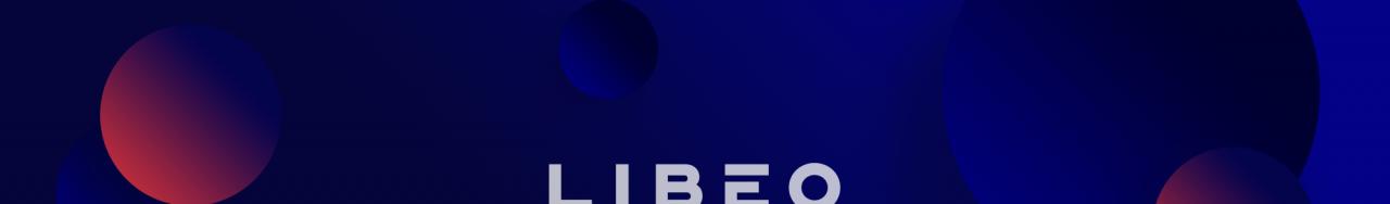 Logo de Libéo entouré de bulles bleues et rouges