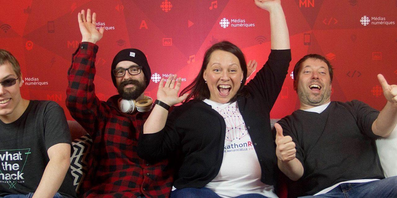 Photographie de l'équipe de Libéo du Hackathon de Radio-Canada avec ses quatre membres