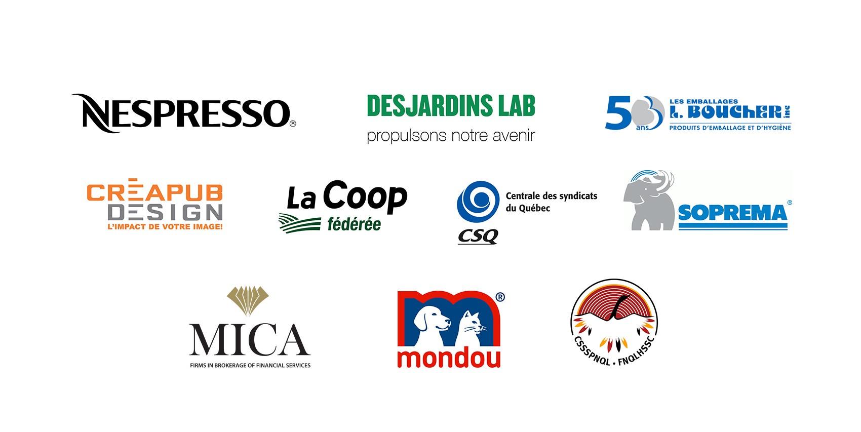 Logos de certains de nos clients ayant participé à un Design Sprint