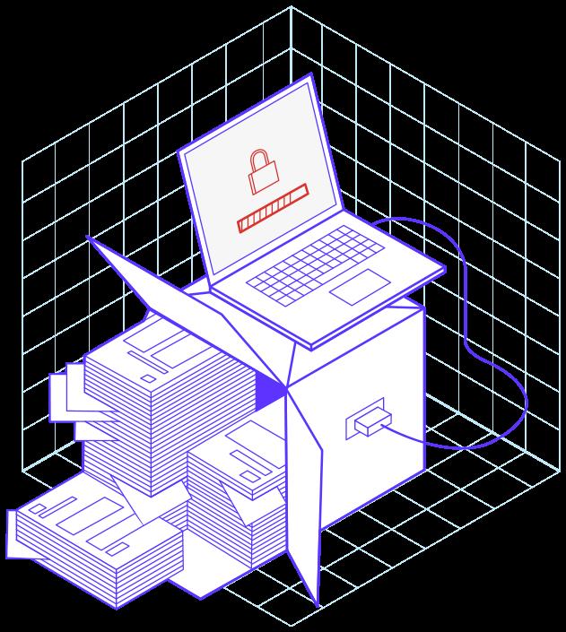 Illustration avec des dossiers rangés dans une boîte sur laquelle se trouve un ordinateur pour illustrer la fintech