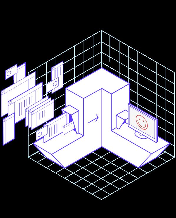 Illustration avec des dossiers et un écran d'ordinateur