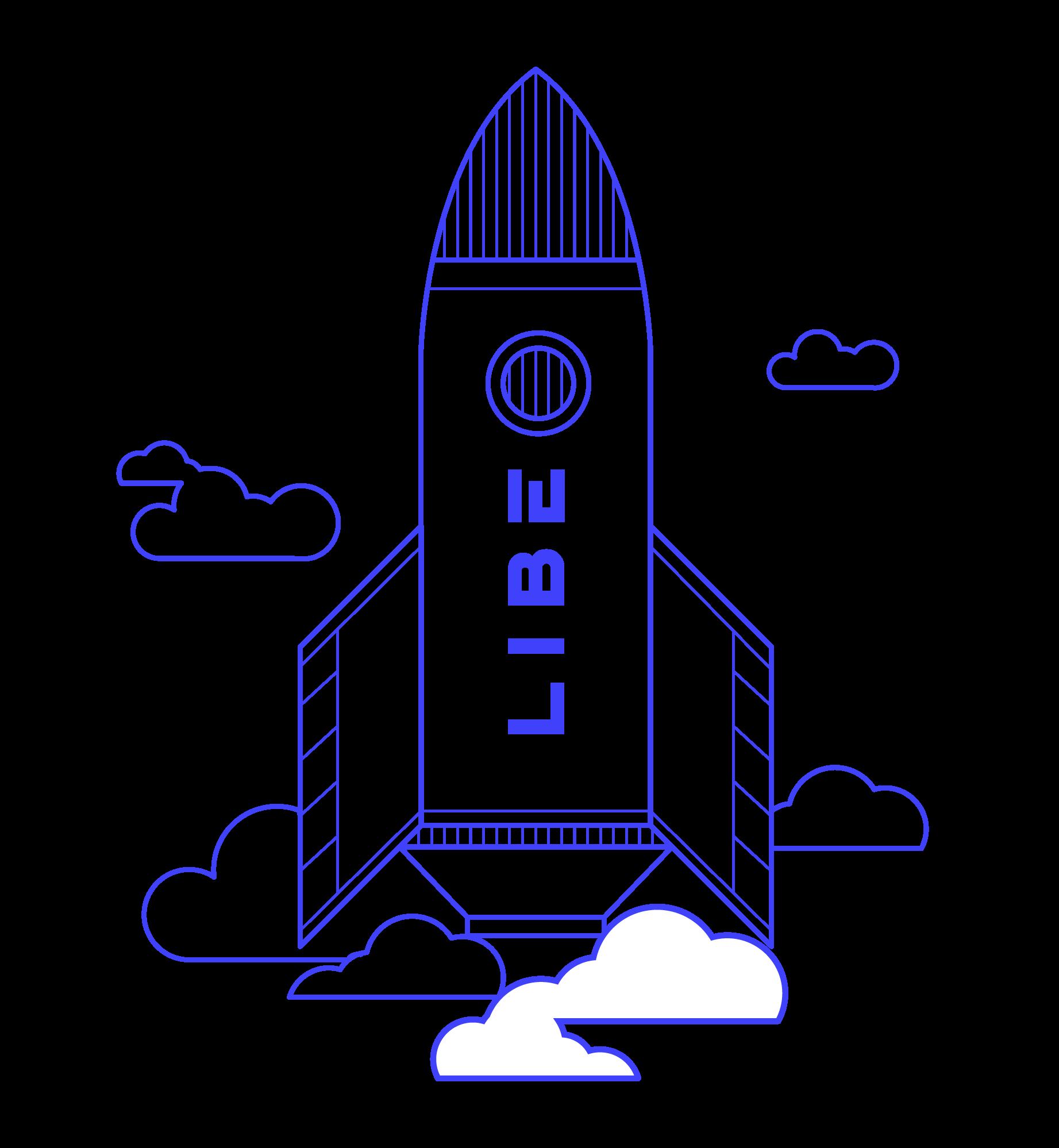 Illustration d'une fusée bleue prête à décoller