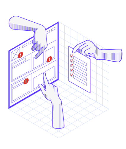 Illustration avec des doigts pointant sur des interfaces Web