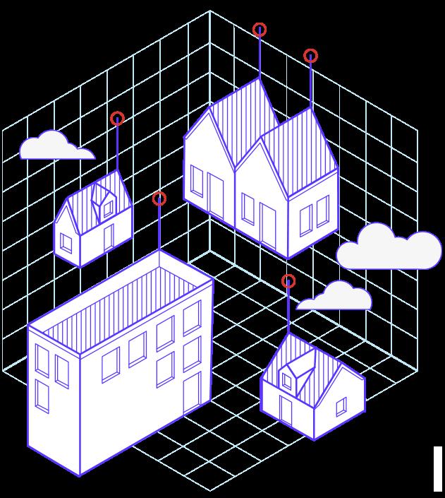 Illustration avec des maisons et des immeubles