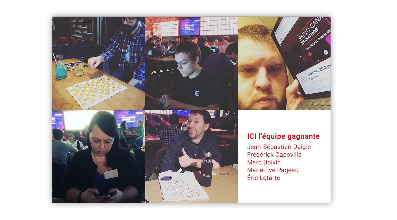 Masoïque d'images de notre équipe au Hackathon de Radio-Canada