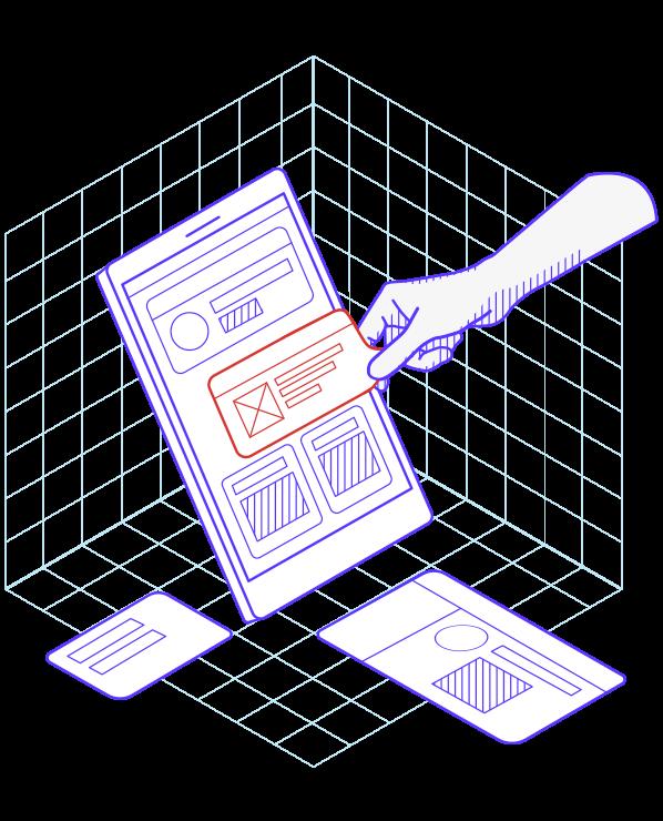 Illustration avec une main et une tablette numérique