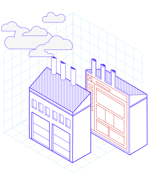 Illustration d'une usine coupée en deux