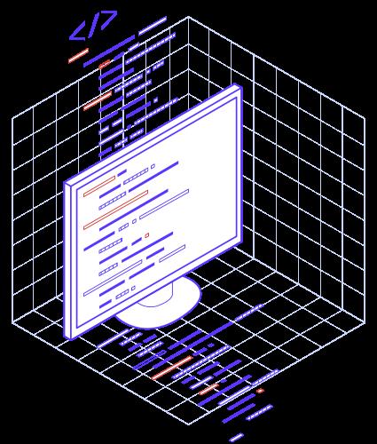 Illustration avec des lignes de code qui sortent d'un écran d'ordinateur