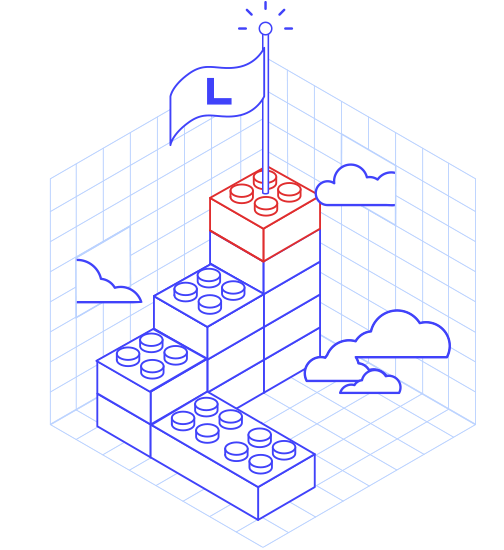 Drawing of cubes with the Libéo flag above which symbolizes achievements