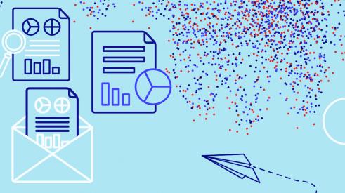 Illustration avec des rapports, des enveloppes et un avion en papier