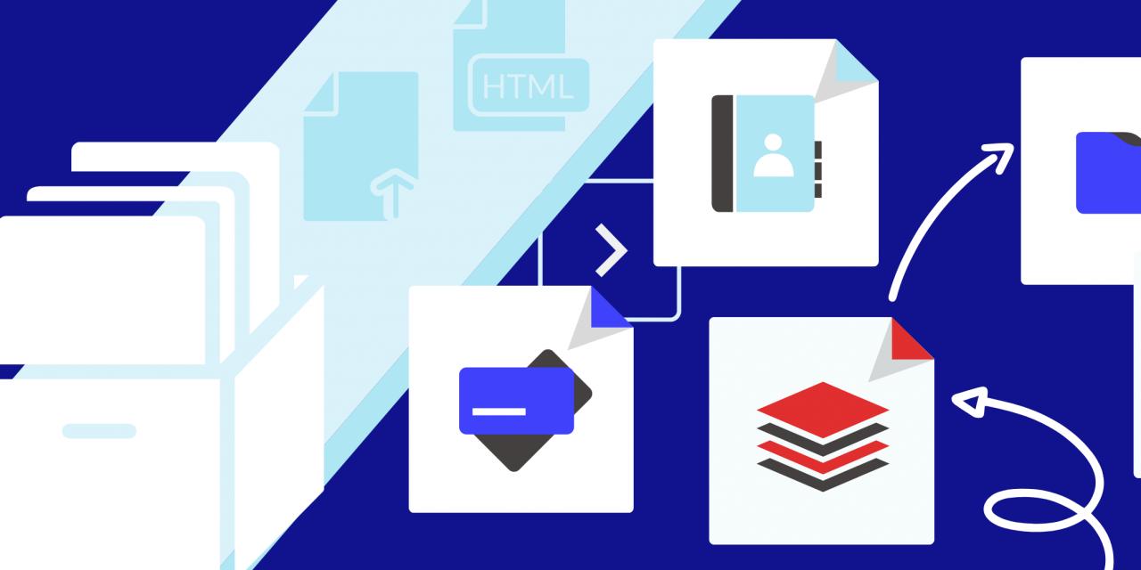 Illustration avec des dossiers, des fichiers et plusieurs flèches