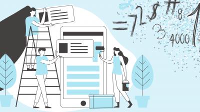 Illustration avec trois personnes devant une tablette intelligente avec des chiffres autour d'eux
