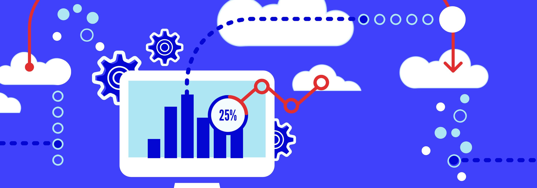 Illustration avec un écran d'ordinateur, une courbe statistique et des nuages