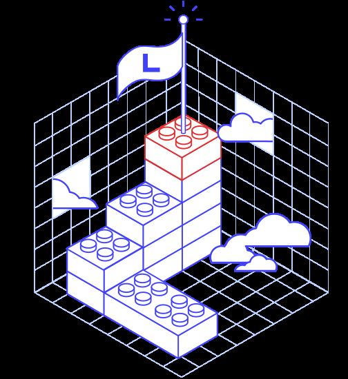 Dessin de cubes avec le drapeau de Libéo au dessus qui symbolise les réalisations
