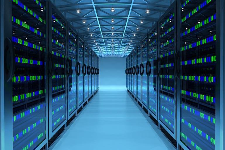 Intérieur d'un centre de données ou data center