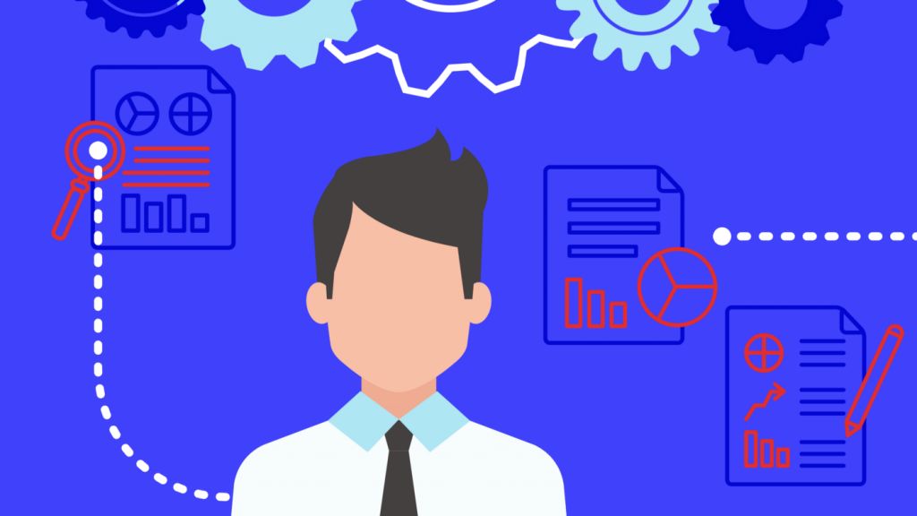 Illustration d'une personne devant des rapports de données
