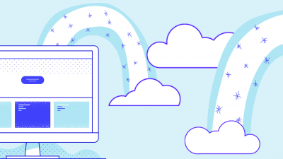 Illustration with a computer and two blue rainbows
