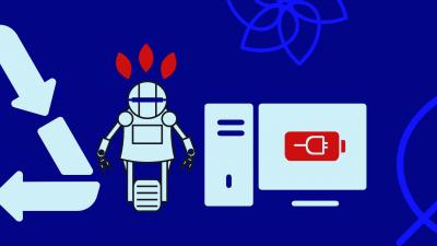 Illustration avec le symbole du recyclage, un ordinateur, un robot et des feuilles d'arbre