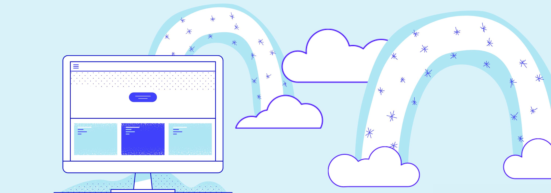 Illustration avec un ordinateur et deux arc-en-ciels bleus