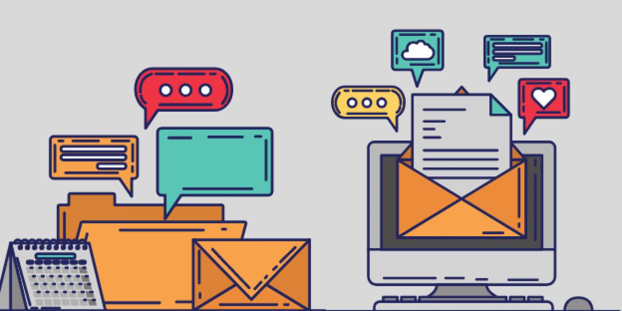 Illustration avec un ordinateur, des email et des dossiers
