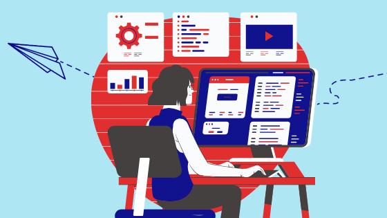 Une femme travaillant sur des graphiques à son ordinateur
