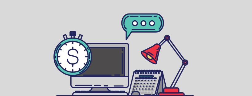 Illustration avec un ordinateur et un calendrier