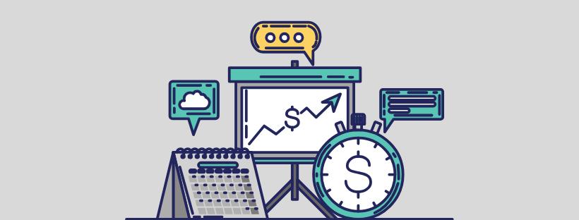 Illustration avec des données, un calendrier et une horloge