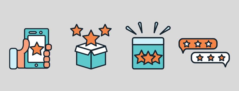 Icônes avec des étoiles de notation pour l'expérience e-commerce