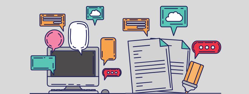 Illustration avec un ordinateur, des boîtes de dialogue et des icônes en tout genre