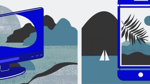 Image avec un ordinateur et un cellulaire qui filtrent le paysage