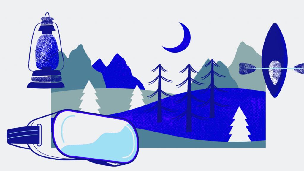 Paysage de camping dans des lunettes de réalité virtuelle