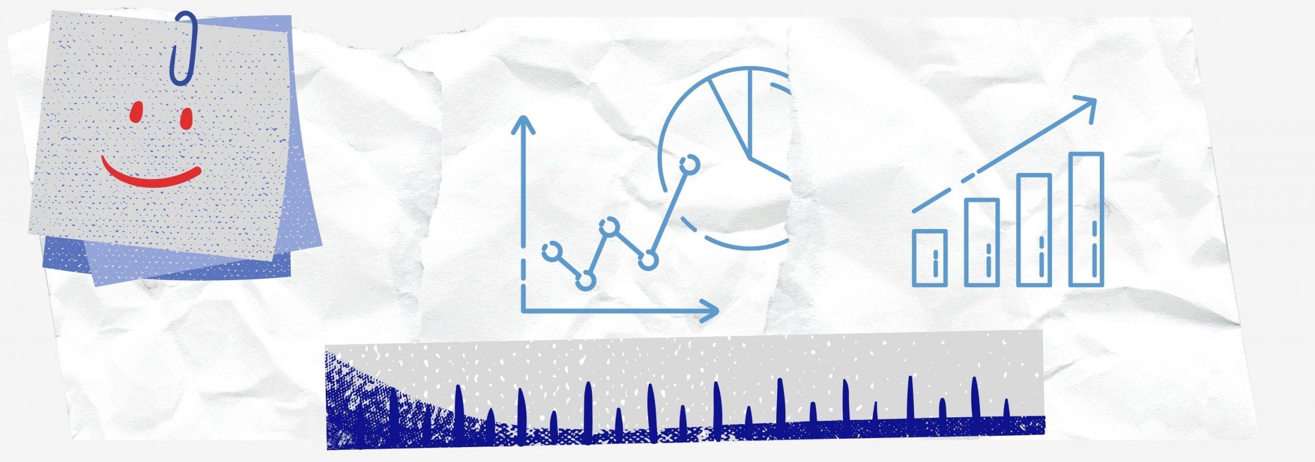 Des icônes avec des courbes statistiques comme pour la mesure de son expérience utilisateur