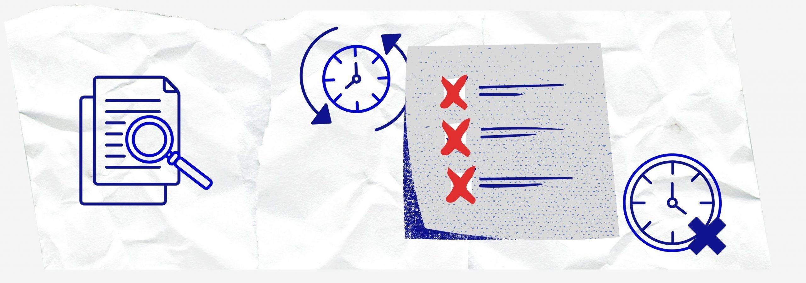 Des icônes avec des horloges pour illustrer l'aspect quotidien de la mesure de l'expérience utilisateur
